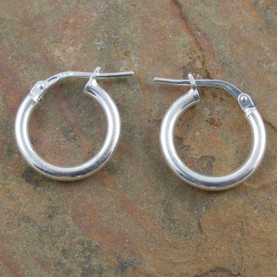 2x13mm Sterling Silver Hoop Earrings
