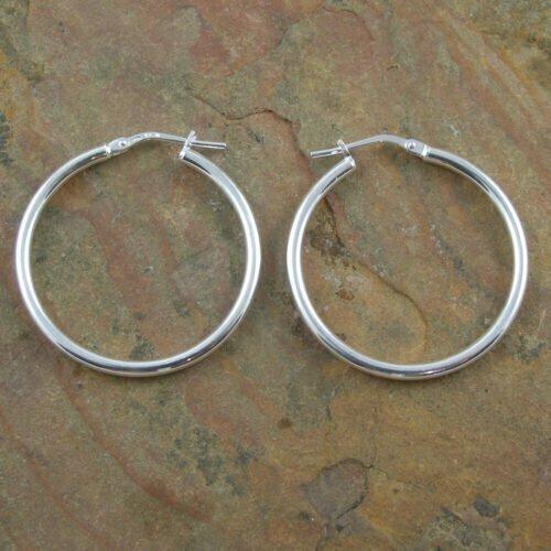 Sterling Silver Hoop Earrings 2x28mm