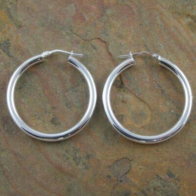Sterling Silver Hinged Hoop Earrings 3x13mm