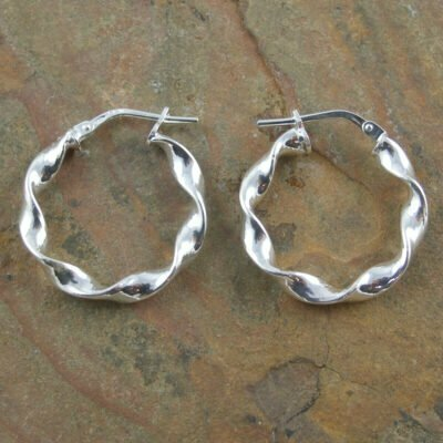Sterling Silver Twisted Hoop Earrings 3x21mm