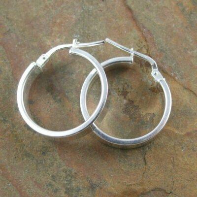 Sterling Silver Flat Hoop Earrings 3.5x18mm