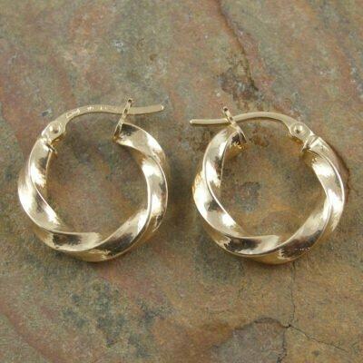 9ct Gold Twisted Hoop Earrings